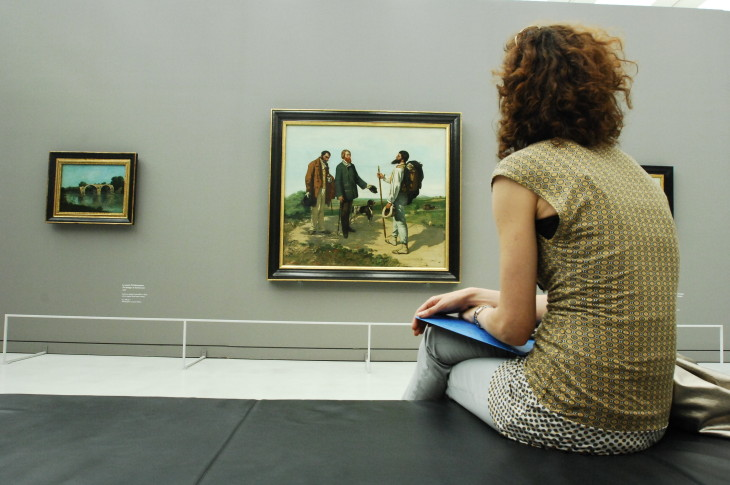 PIC A2 Visitor looking at Bonjour M Courbet one of the most famous works at the  Fabre Museum.JPG
