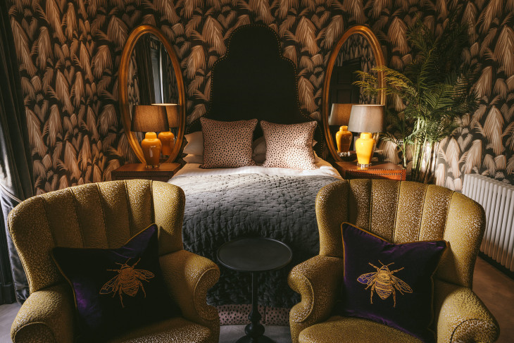 Pic 2  Tropicana Wallpaper by Matthew Anderson and Gung Ho cushions in the Harry Bedroom at CharltonHall.jpg
