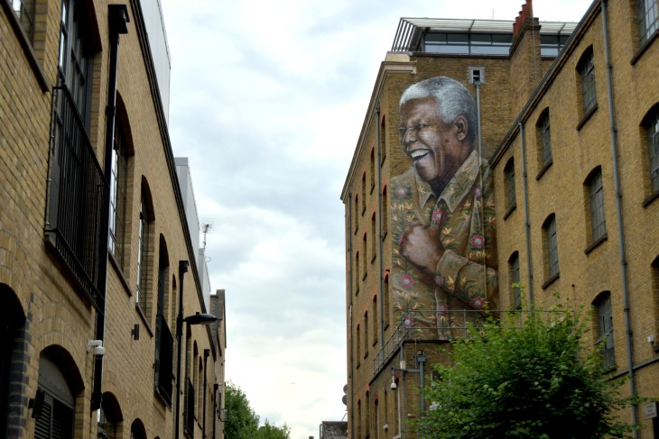 14 Mural of  Nelson Madela at New Cross painted to mark Mandela Day an example of new trend for large scale commissioned art on exterior of houses.jpg